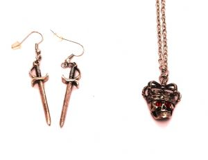 Pirates of the Caribbean Skull pendant and Sword earring set